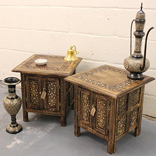Mehanadi Set of 2 Square Side End Hand Carved Brown Wooden Table Inner Storage ()