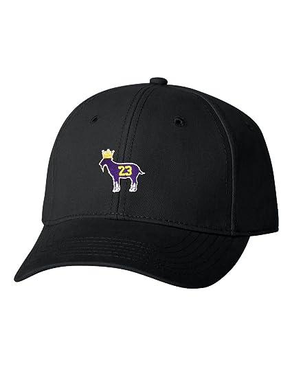 Adjustable Black Adult Goat James G.O.A.T. King Embroidered Dad Hat  Structured Cap 44596bf86b53