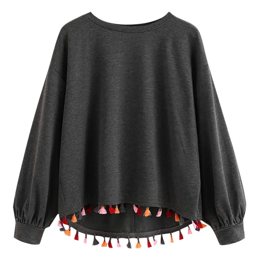 Amazon.com: XiongBuy Womens Tops Casual Long Sleeve Sweatshirt O-Neck Pullover Blouse with Tassel: Clothing