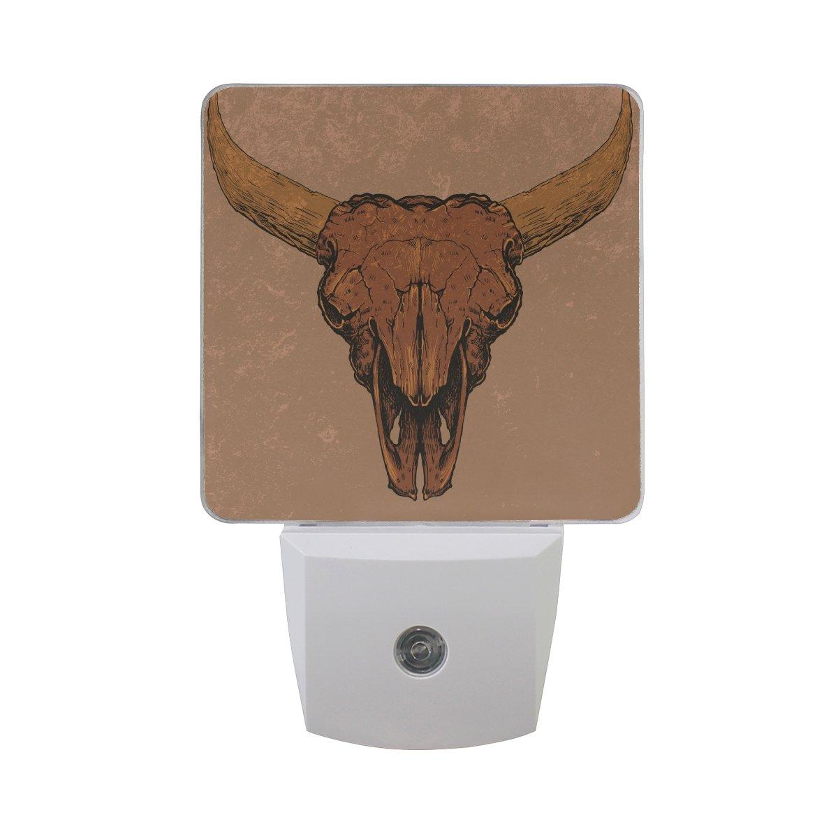 Vintage Cow Skull White LED Sensor Night Light Super Bright Power Dusk To Dawn Sensor Bedroom Kitchen Bathroom Hallway Toilet Stairs Energy Efficient Compact(2 PACK)