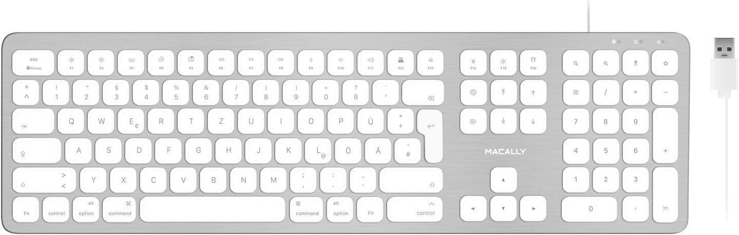 Macally WKEYHUBMB-DE, Teclado extendido para Mac con Teclado ...