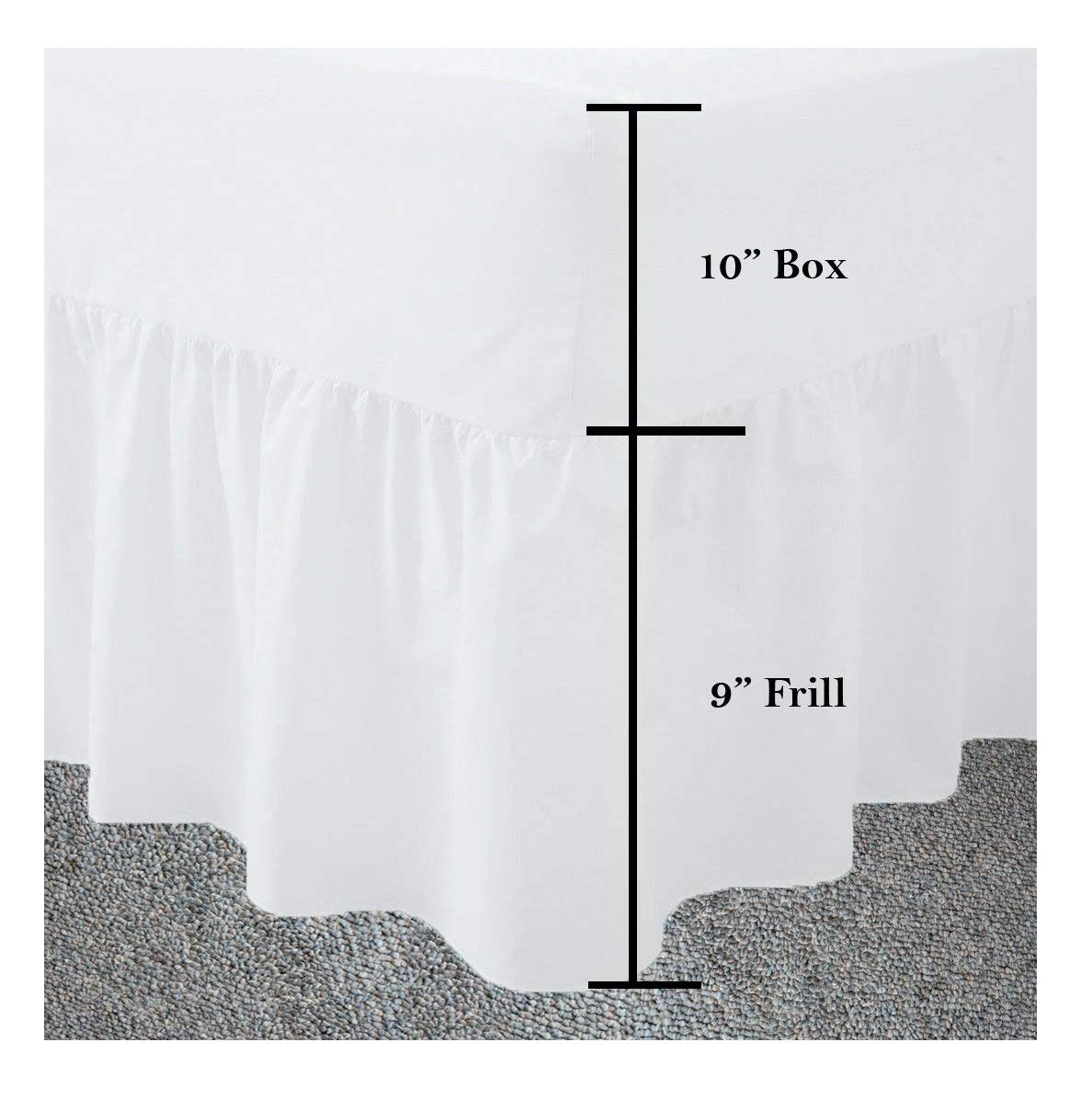 Maria Luxury Bedding & Linen 4ft, Small Double Fitted Valance Sheet Frilled 4 Foot Double, White