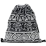 DANUC Gym Sack Bag Drawstring Backpack Sport Bag for Men & Women School Travel Backpack (Elephant)