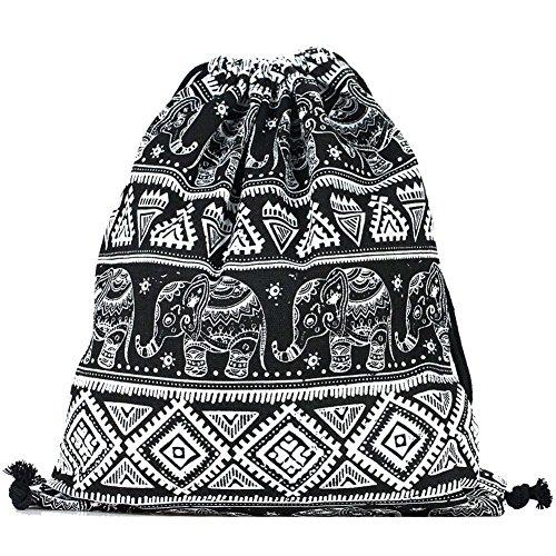 Canvas Drawstring Back Sack (DANUC Gym Sack Bag Drawstring Backpack Sport Bag for Men & Women School Travel Backpack (Elephant))