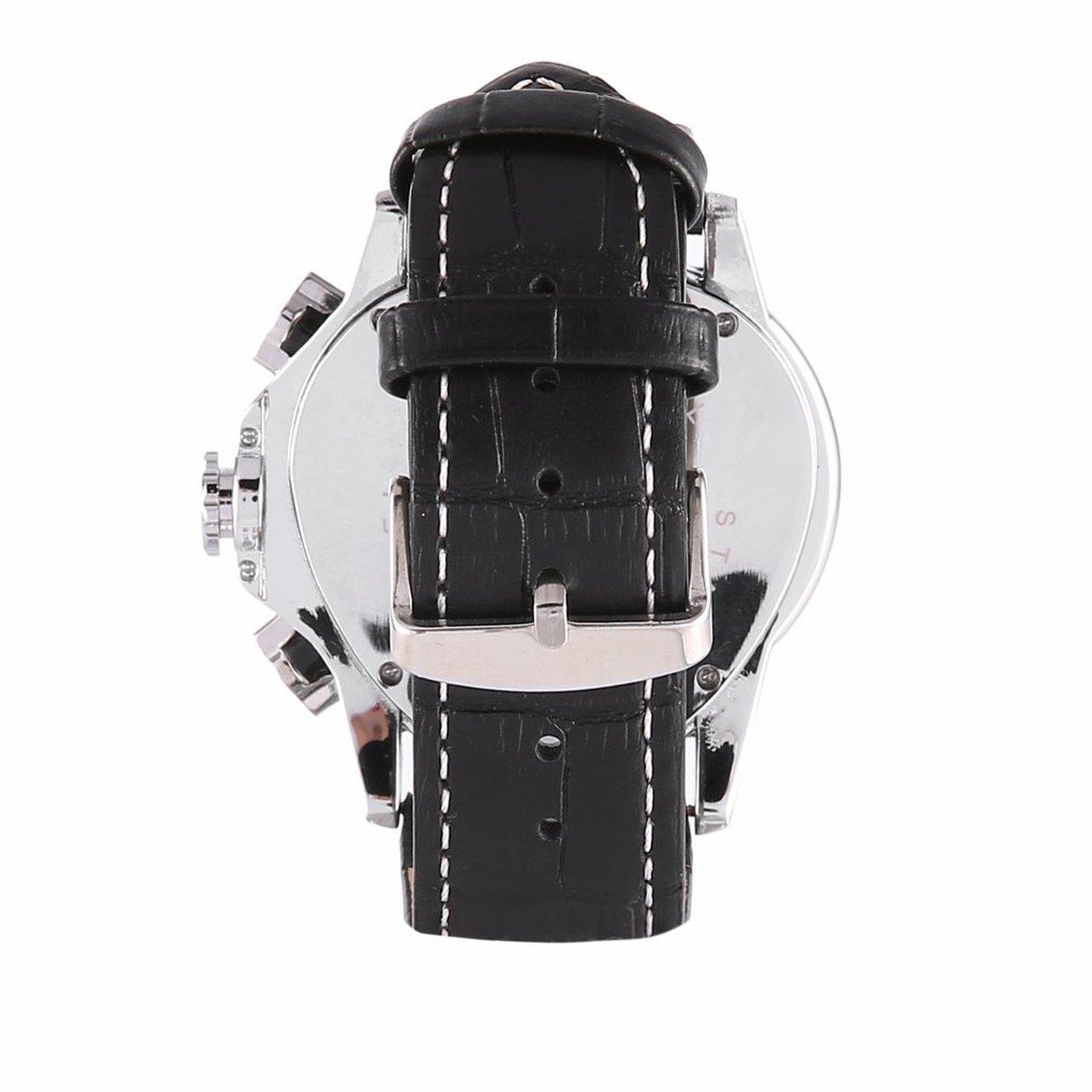Jaragar hombres reloj de pulsera mecánico automático relojes de pulsera de cuero Triangular esfera negro relojes de negocios esqueleto relojes: Amazon.es: ...