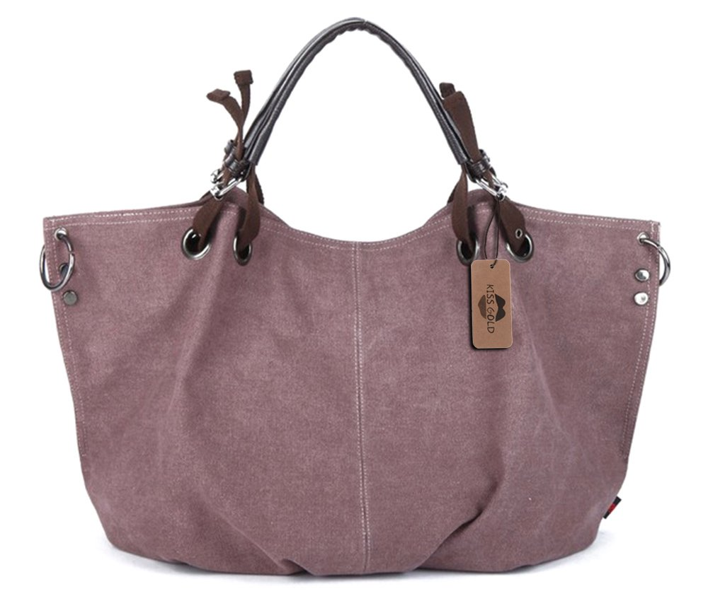 KISS GOLD(TM) European Style Canvas Large Tote Top Handle Bag Shopping Hobo Shoulder Bag, Size 22 '' X6.3'' X 14.2 '' (Violet)