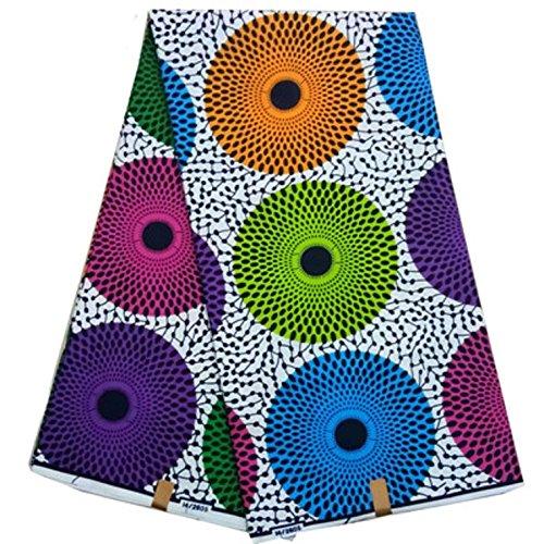 Africa Ankara Supreme Wax Print 6 Yards Fabric (Multicolor)