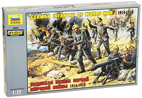 World War I German Helmet (Zvezda 8083 - German Infantry of World War I 1914-1918 - Unpainted Plastic Soldiers 7 pcs - Scale 1:72 41 Parts)