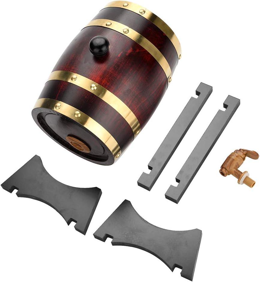 SH-RuiDu - Barril de vino de madera de roble para cerveza, whisky y ron (pintura roja)