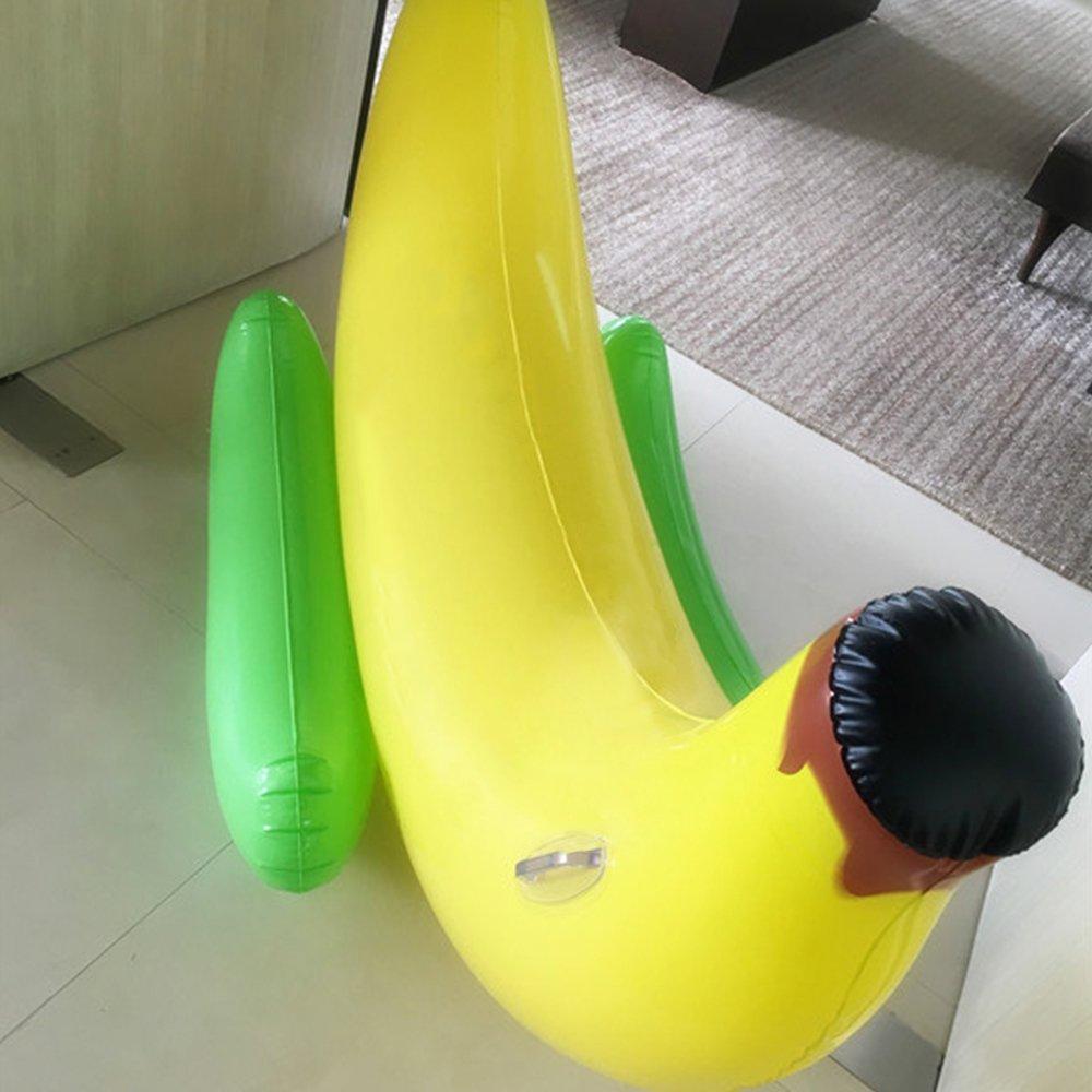 Juguete inflable gigante del flotador de la piscina del plátano, flotador inflable del paseo del plátano disfrutado por los cabritos y los adultos: ...