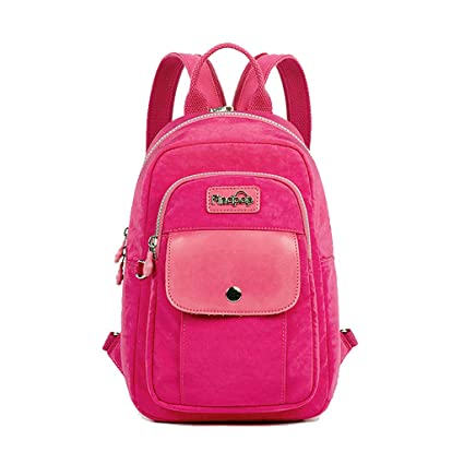 0231fbad71fb Amazon.com  CJH Mini Shoulder Bag Female Waterproof Travel Canvas Small  Backpack Casual Large Capacity Chest Bag Female Dual-use Tide Bag Pink   Sports   ...