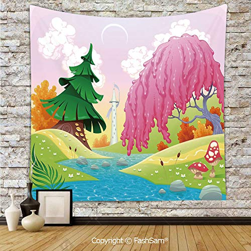 Hanging Tapestries Fantasy Landscape with Unusual Trees Riverside Drawing Spring Summer Season Print Decorative Wall Blanket for Living Room Dorm Decor(W51xL59)