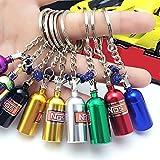Shineweb 1Pcs Mini NOS Bottle Oxide Nitrous Pill Stash Box Auto Car Key Chain Keyring Keyfob - Black