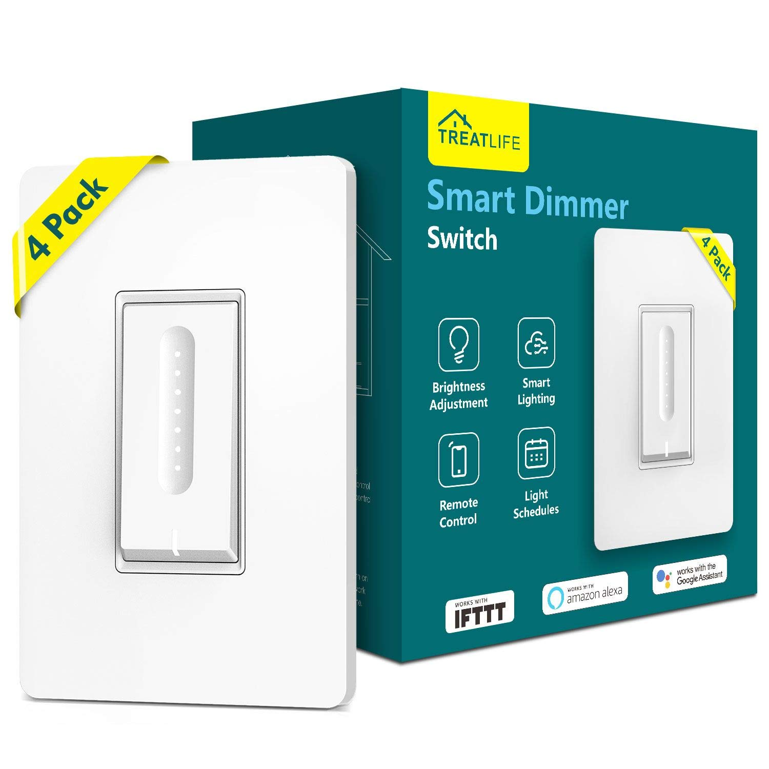 Smart Dimmer Switch,Treatlife WiFi Light Switch for Dimmable LED, Halogen & Incandescent Bulbs, Compatible with Alexa, Google Home & IFTTT, App Remote Control, Single-Pole Dimmer Switch(4 PACK)