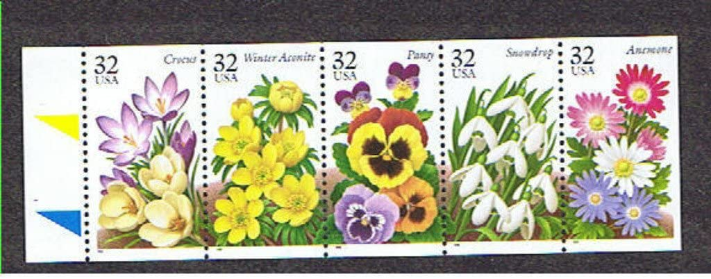 USPS Garden Flowers Booklet Pane of 5 x 32 Cent Stamps Scott 3025-3029a