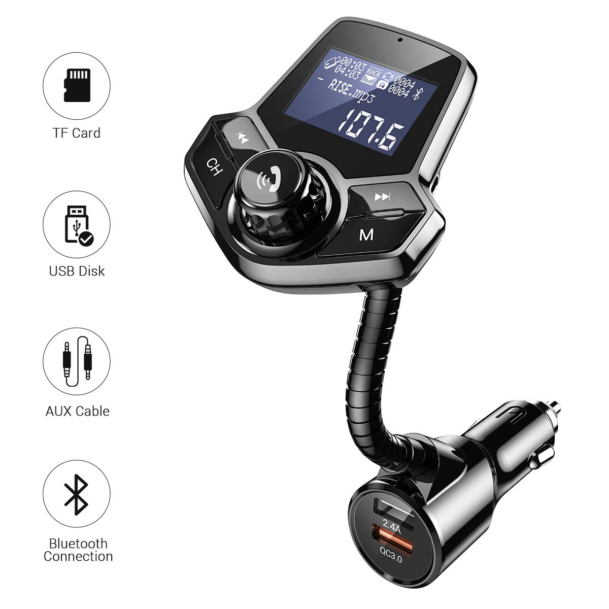Bluetooth FM Transmitter for Car, QC3.0 Fast Charger Fm Transmitter Bluetooth, Wireless Car Audio Adapter Hands-Free Kit with 1.44'' Display for AUX Input/Output, TF Card and U Disk by Ainope