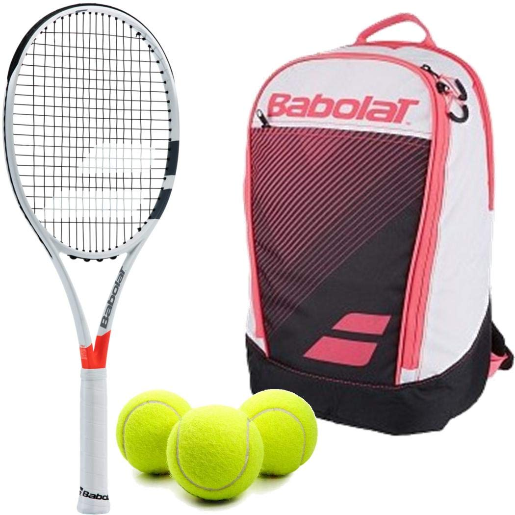 Babolat Pure Strike 25 Inch Racquet (4'' Grip) Junior Player Set or Kit Bundled with a Pink Club Backpack and (1) Can of 3 Tennis Balls by Generic (Image #1)
