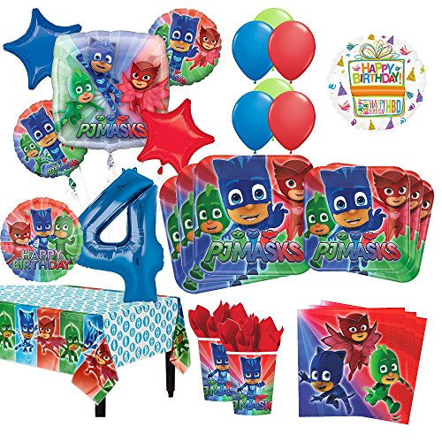 Mayflower Products PJ Masks 4th Birthday Party Supplies 8 Guest Kit and Balloon Bouquet - 8 Kit Party Guest