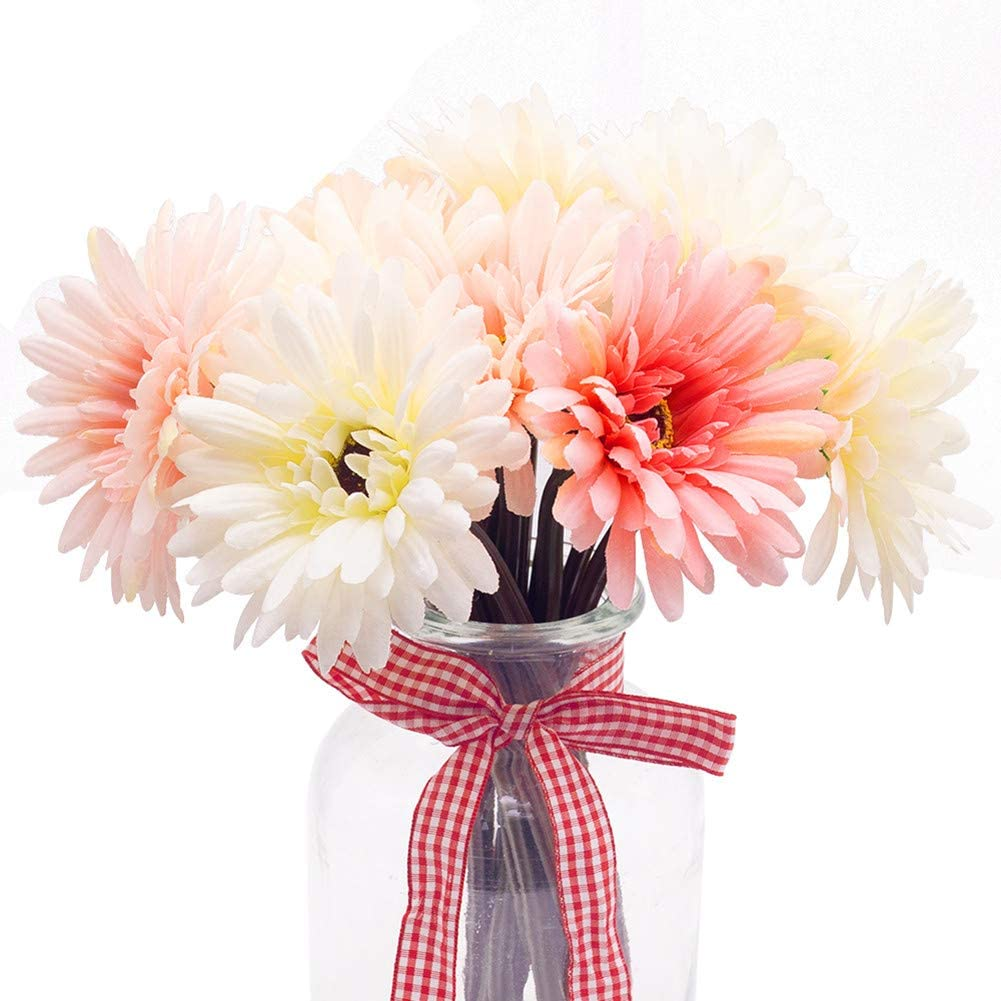 Amazon.com: BigOtters Gerbera Daisy,14 Pcs Artificial Flowers Silk Flowers  Bouquets, Bride Bridesmaid Holding Flowers for Wedding Bouquet,Home Garden  Party Wedding DIY Decoration (Pink and White): Kitchen & Dining