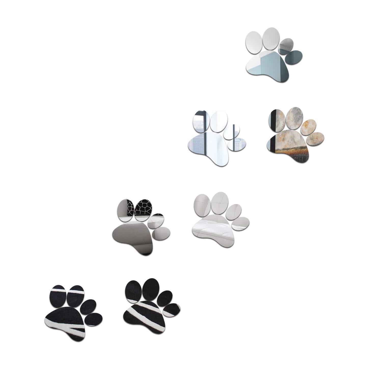 aooyaoo DIY Dog Footprin Prints Mirror Wall Sticker Children Room Decoration (Silver3)