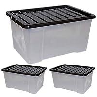 Storage KING Grande Big Effacer Boîte de Rangement en Plastique de 50L–Solide et empilable Boîtes–Lot DE 3