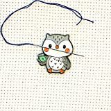 Cute Grey Owl Enamel Needle Minder