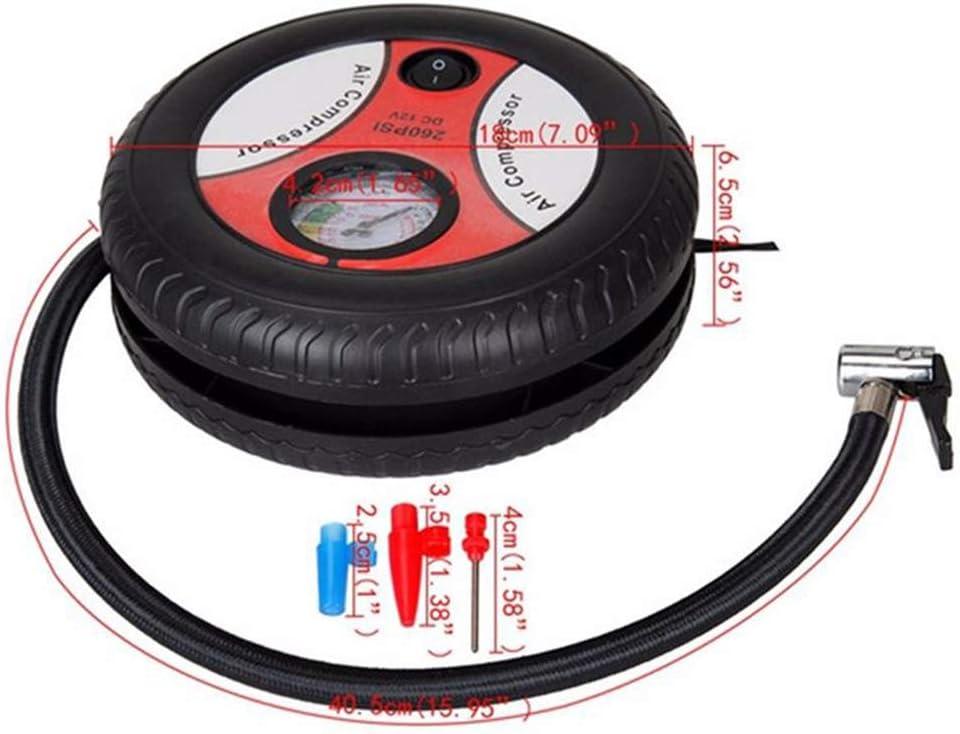 xMxDESiZ Portable Voiture Mini Pneu Forme DC12V 260PSI compresseur d/¡/¯air /¨/¦lectrique Pompe de gonfleur-Rouge