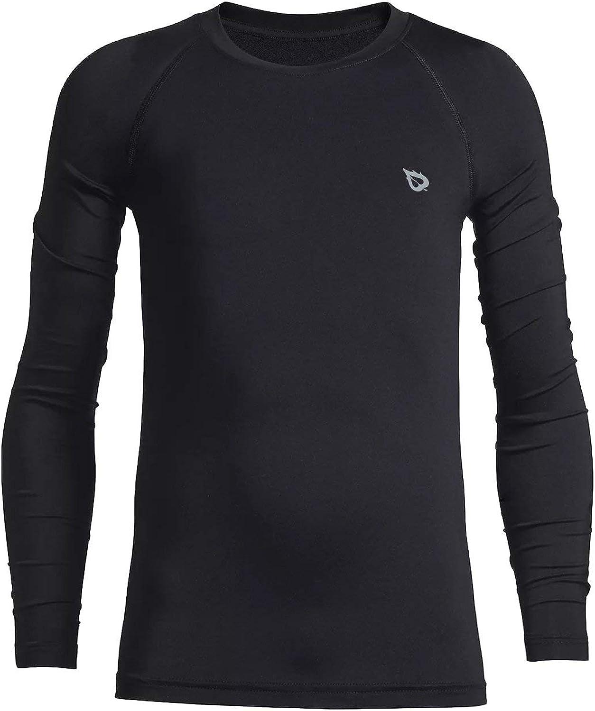 BALEAF Youth Boys'/Girls' Thermal Compression Sports Shirts Long Sleeve Fleece Base Layer Crew Neck: Clothing