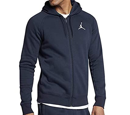 41e786583f29cc Amazon.com  Nike Mens Jordan Flight Full Zip Hooded Sweatshirt 823064 410  (3X-Large) Midnight Navy White  Clothing