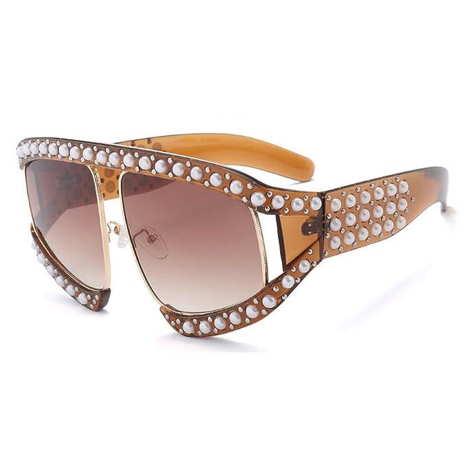 0bdf1e9e6403 MINCL Oversized Fashion Sunglasses Womens Diamond Big Frame Luxury  Sunglasses UV400 (brown)