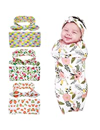 Babe Maps Newborn Baby Swaddle Blanket Headband with Receiving Blankets Set