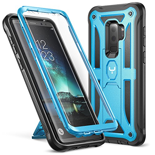 YOUMAKER Galaxy S9+ Plus Case, Heavy Duty Protection Kickstand with Built-in Screen Protector Shockproof Case Cover for Samsung Galaxy S9 Plus 6.2 inch (2018 Release) - Blue