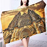 Personalized bath towel Church Catholic Gifts SunTower Medieval Architecture Prague Tapestry Wall Han Moisture Wicking L63 x W31.2 INCH
