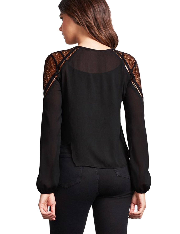 Blooming Jelly Women\'s Elegant Lace Chiffon Blouse Long Sleeve V Neck Keyhole Top Shirt(S, Black)