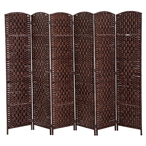 - HOMCOM 6' 6 Panel Wicker Weave Room Divider Privacy Screen - Chestnut Brown