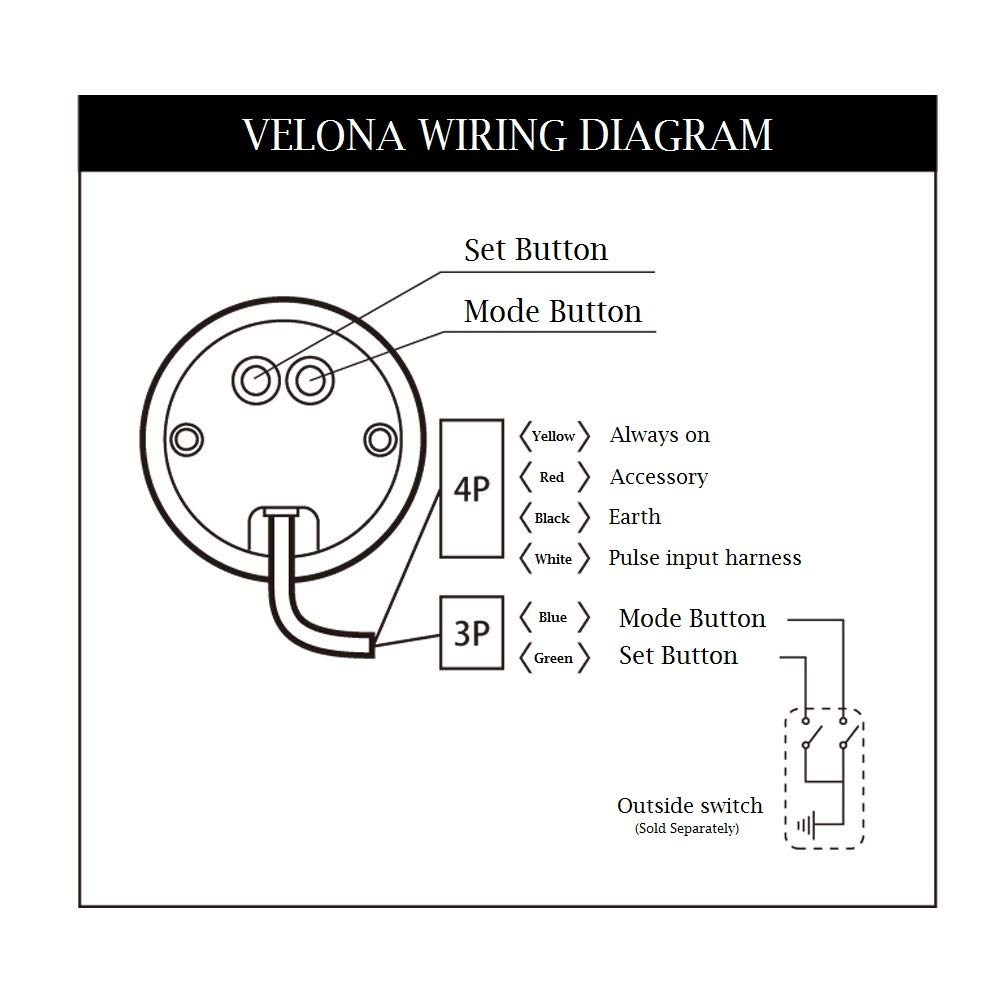 DAYTONA VELONA - Tachometer 9,000 RPM (Black) on