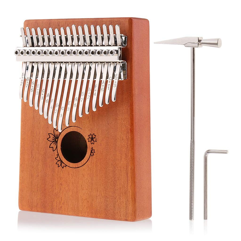 Kalimba Thumb Piano 17 Keys,Solid Wood Mbira Finger Piano African Instrument with Tuning Hammer,Wrench and Instructions Kit for Kids Adult Beginners by Alnicov