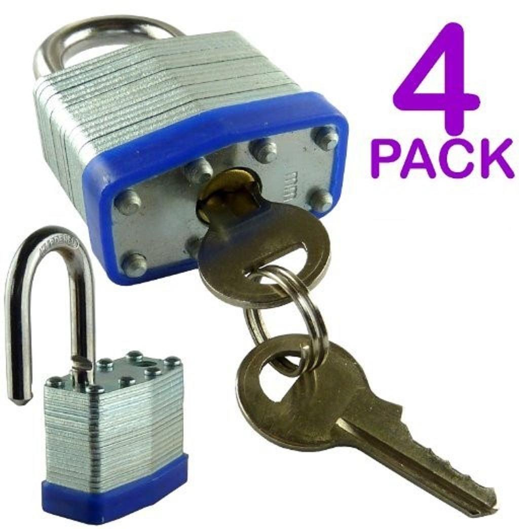 DINY Home 4 Pack 30mm 1.2 inch Laminated Padlock (All Same Key)