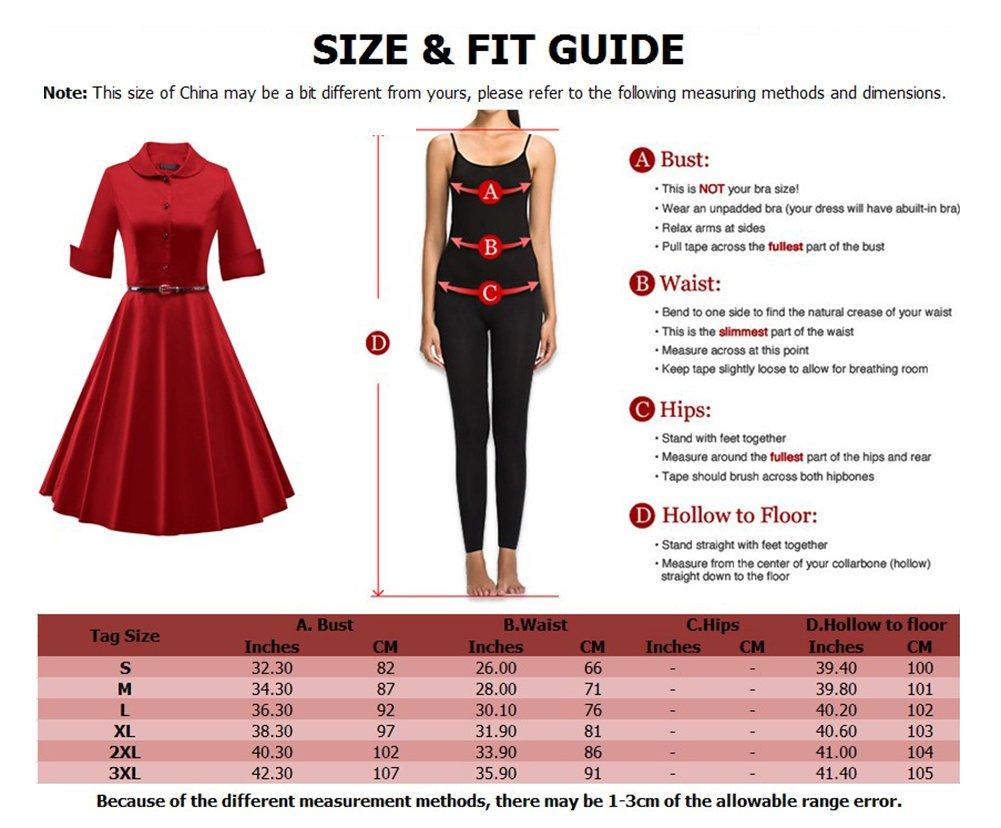 LaoZan Vestido de fiesta Rockabilly A-line Vestido vintage años 50 con falda para mujer Manga corta 3XL Vino rojo: Amazon.es: Deportes y aire libre