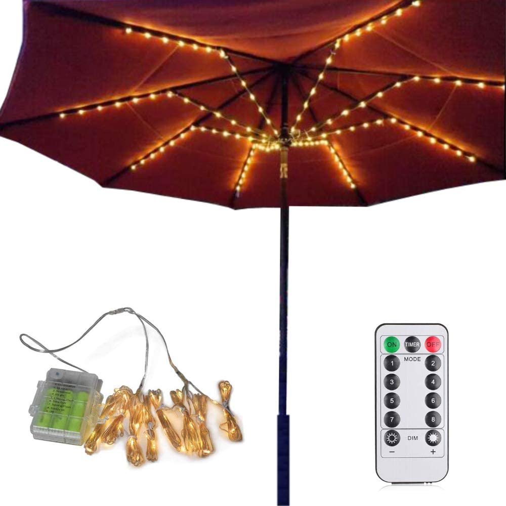 Camping Tents Patio Umbrella Lights Party. Remote Control Umbrella String Lights Battery Operated Waterproof Outdoor Lighting for Garden Backyard 4 Colors