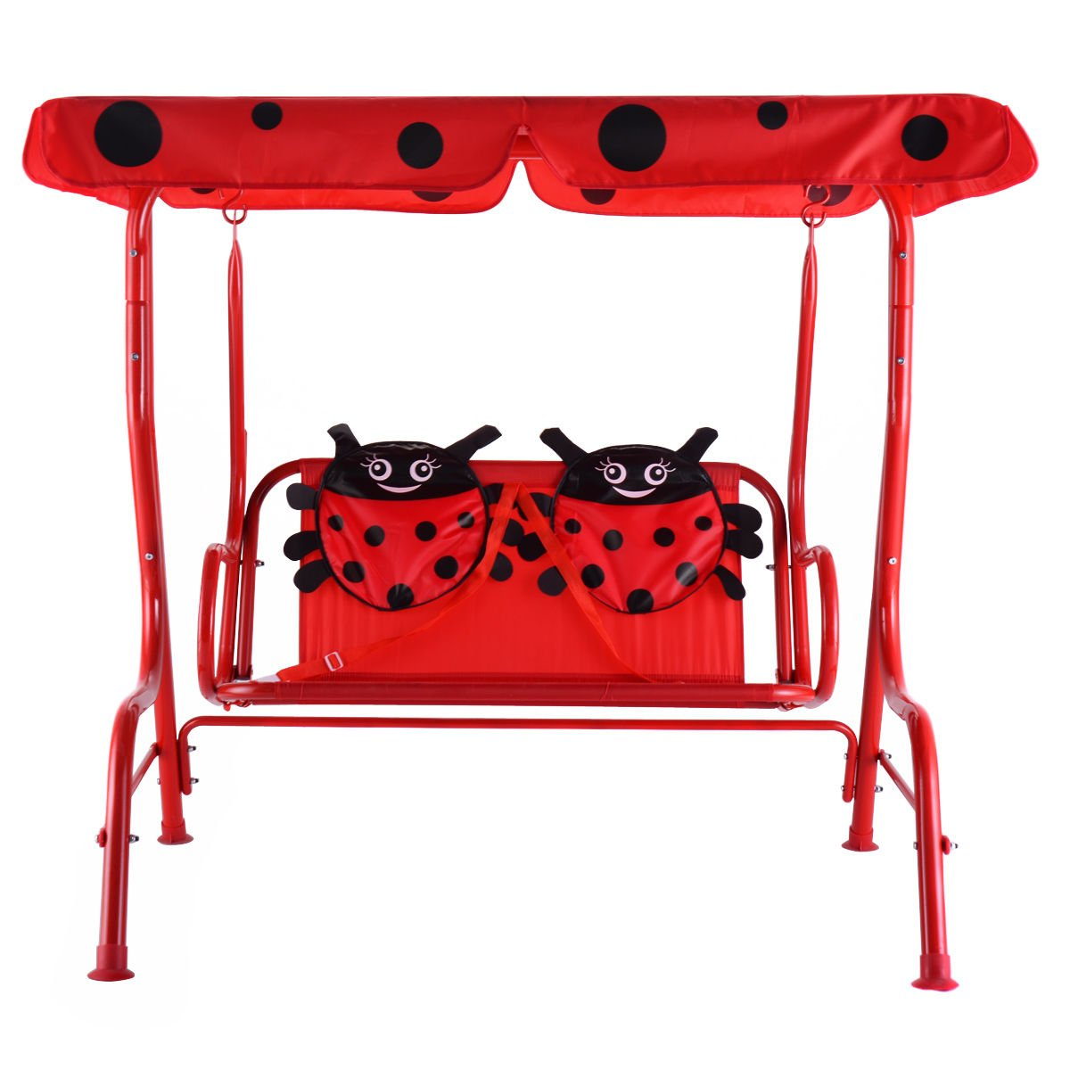 Kids Patio Swing Chair Children Porch Bench Canopy 2 Person (Red)