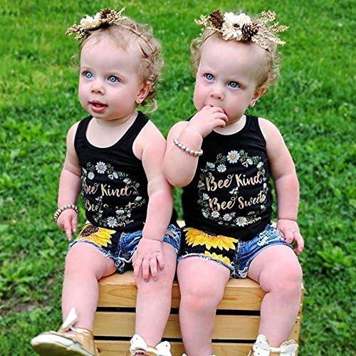 Dsood Toddler Girls Sleeveless Vest Tops Floral Denim Shorts Outfits Set