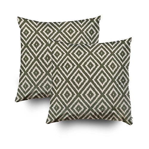 Musesh Pack of 2 ikat diamond pattern in olive green and cream Cushions Case Throw Pillow Cover For Sofa Home Decorative Pillowslip Gift Ideas Household Pillowcase Zippered Pillow Covers 20X20Inch