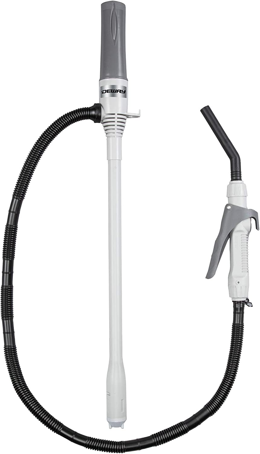 DEWAY Liquid Transfer Pump with Nozzle for Quick Flow Control & Stop, 3X More Powerful D Battery Powered, Portable Fuel Pump with Leak Protection, Flexible Long Hose, Transfers at 2.3 Gal/Minute