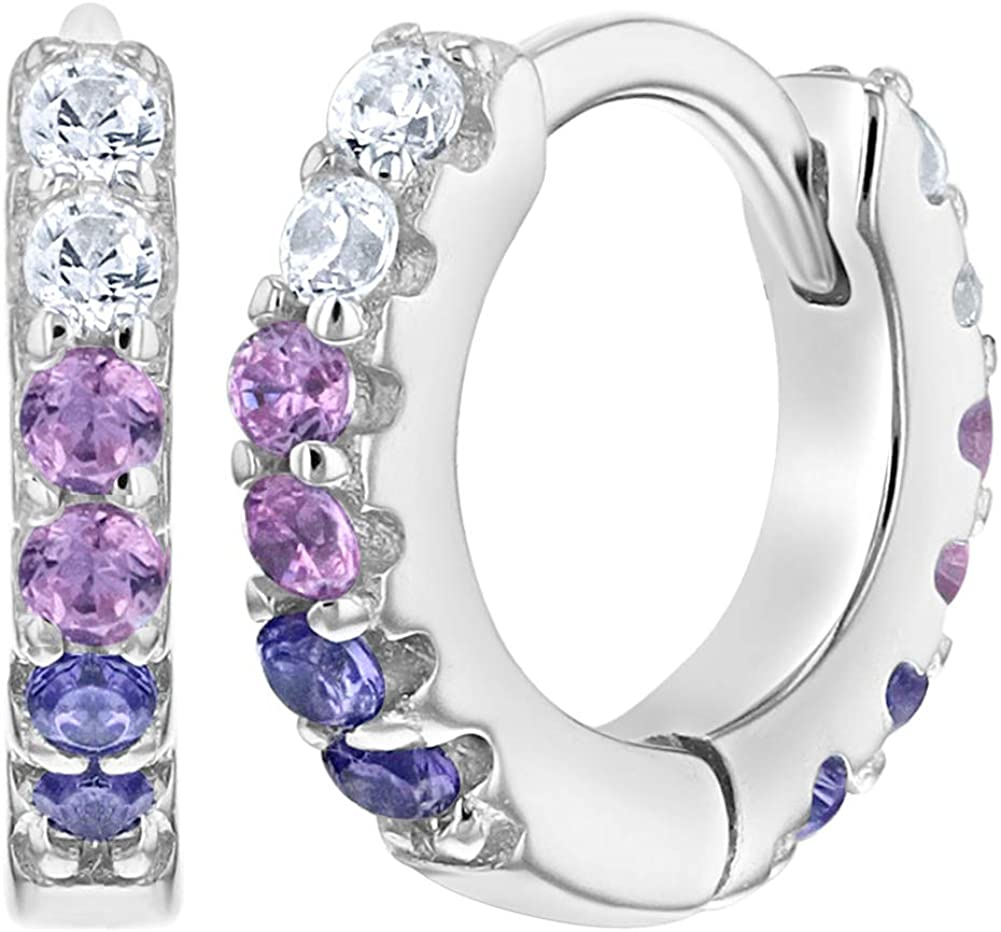 925 Sterling Silver CZ Purple Baby Girl Huggie Hoop Earrings Kids 0.39""