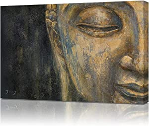 B BLINGBLING Buddha Canvas Wall Art Print: Gold Buddha Head Zen Painting Decor Black and Gold Poster for Living Room Yoga Room 24
