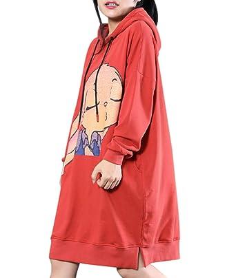 cfa0e70e23 YESNO WH3 Women Long Casual Sweatshirt Loose Hoodie Dress Funny Cartoon  Printed Pockets