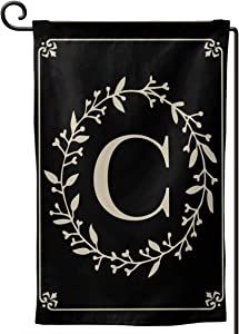 MSGUIDE Garden Flag Vertical Double Sided 12.5 X 18 Inch, Monogram Letter C Welcome House Flag Weather Resistant Banner for Seasonal Yard Outdoor Home Decor