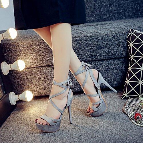 Ultra Chaussures Grey De Fines 14Cm Performance 9 Avec ZHUDJ Match Sandales Chaussures De Chaussures L'Été 1769 Talon Tous Hautes x4a61qI