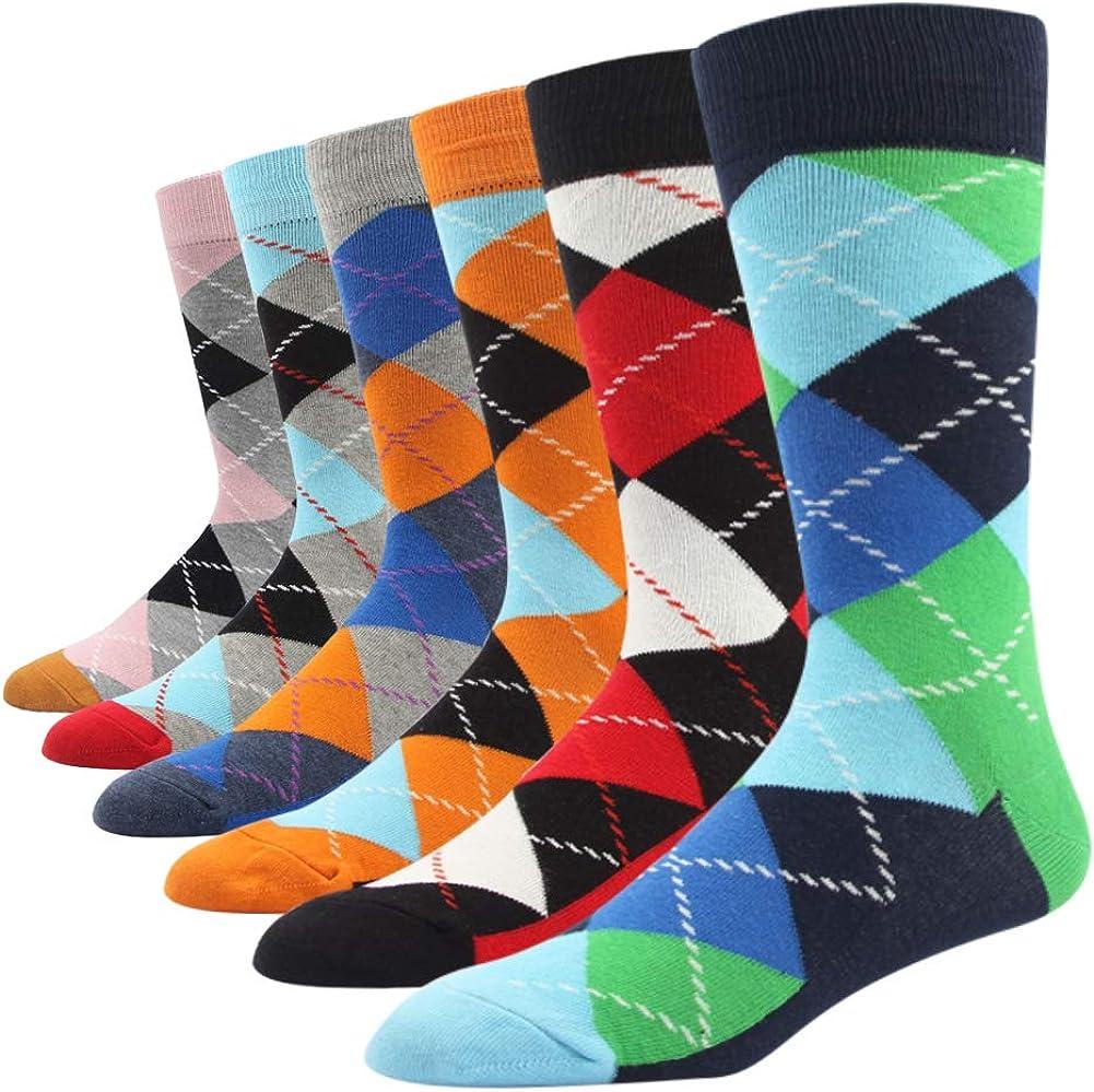 SOXART Men's Dress Socks Big & Tall 6-Pack Argyle Striped Dark Color Classic Style 10 11 12 13 14 15 16